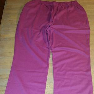 Lands' End Raspberry Cotton Pants Size OX NWT